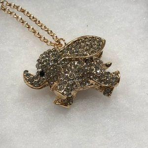 NWOT•Gold Baby Elephant Long Necklace